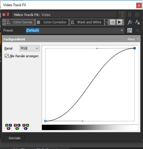 color curves tool in vegas movie studio 14 platinum with an s shape
