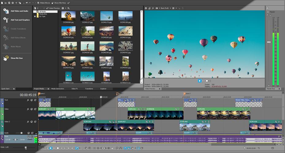 VEGAS Movie Studio 15 improvements to the general user interface